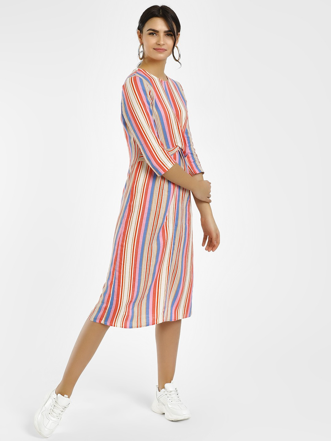 Vero Moda Multi Striped Twist Waist Midi Dress 1