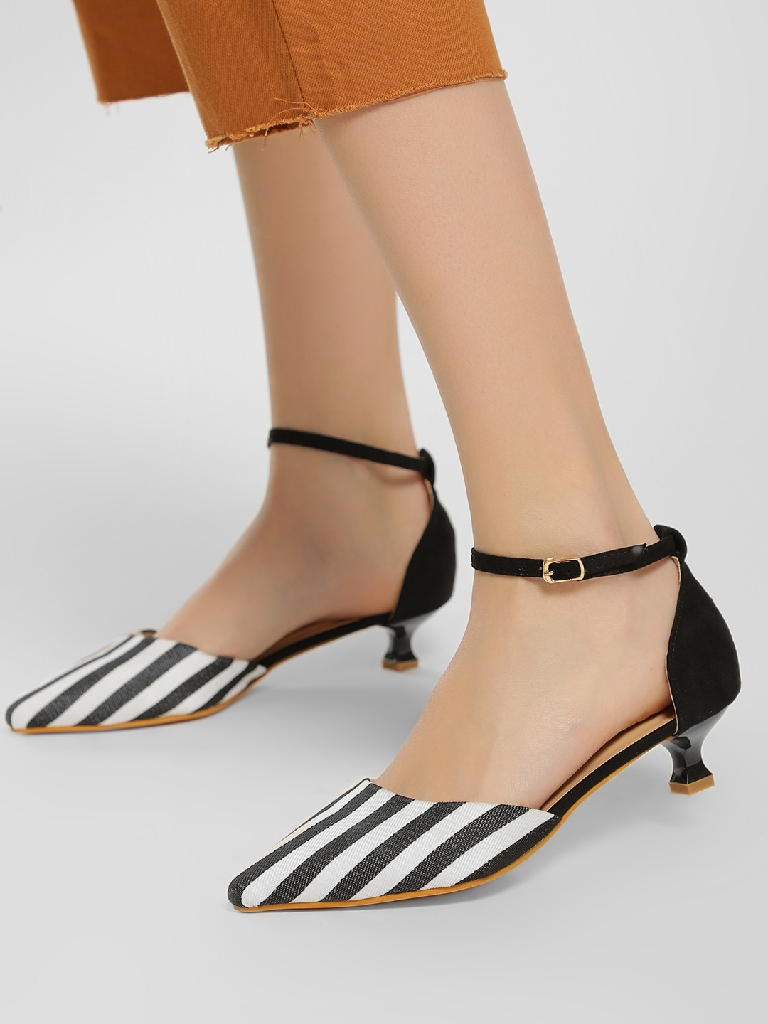 My Foot Couture Black Monochrome Stripe Kitten Heel Pumps 1