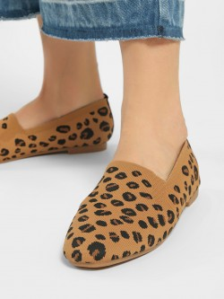 My Foot Couture Textured Leopard Print Flat Shoes