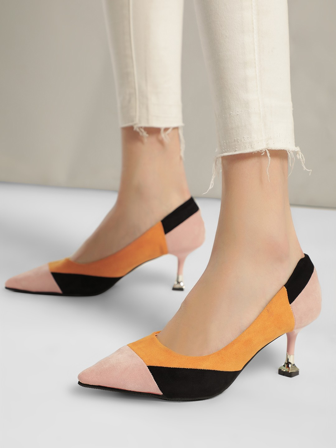 My Foot Couture Multi Colour Block Heeled Pumps 1