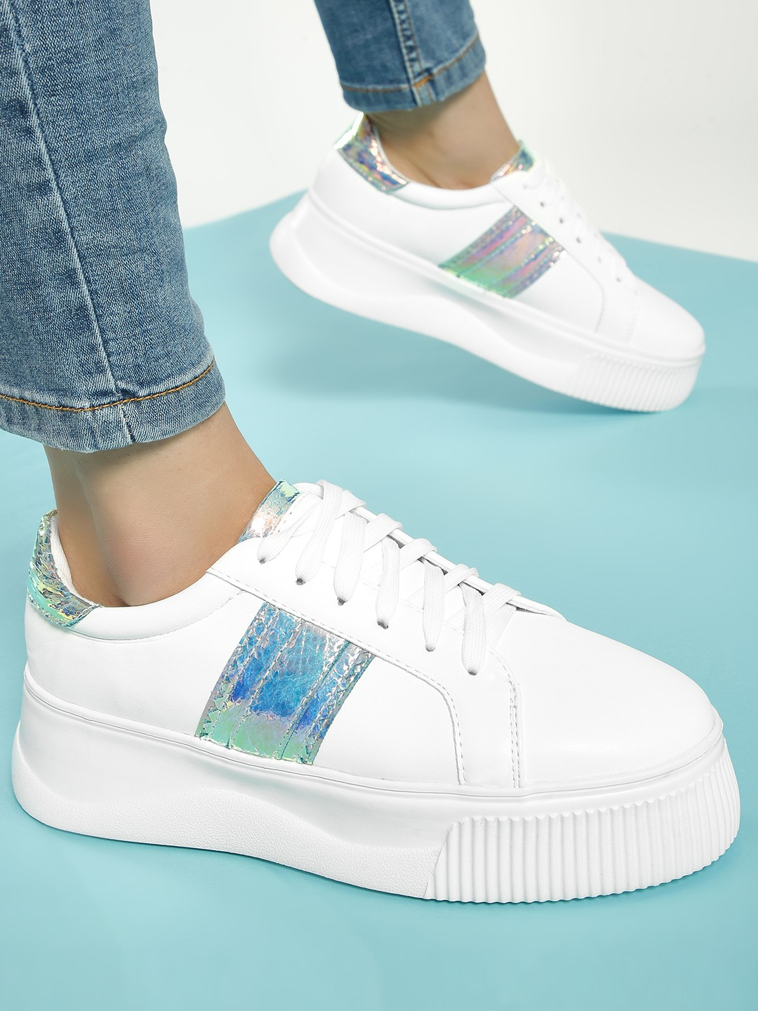 My Foot Couture White Holographic Panel Sneakers 1