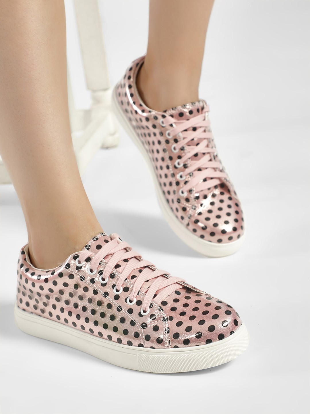 My Foot Couture Pink Polka Dot Print Glossy Sneakers 1