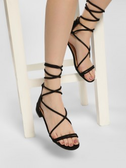 My Foot Couture Suede Tie-Up Heeled Sandals