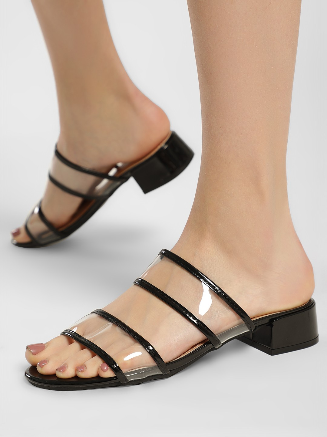 My Foot Couture Black Perspex Strap Heeled Sandals 1