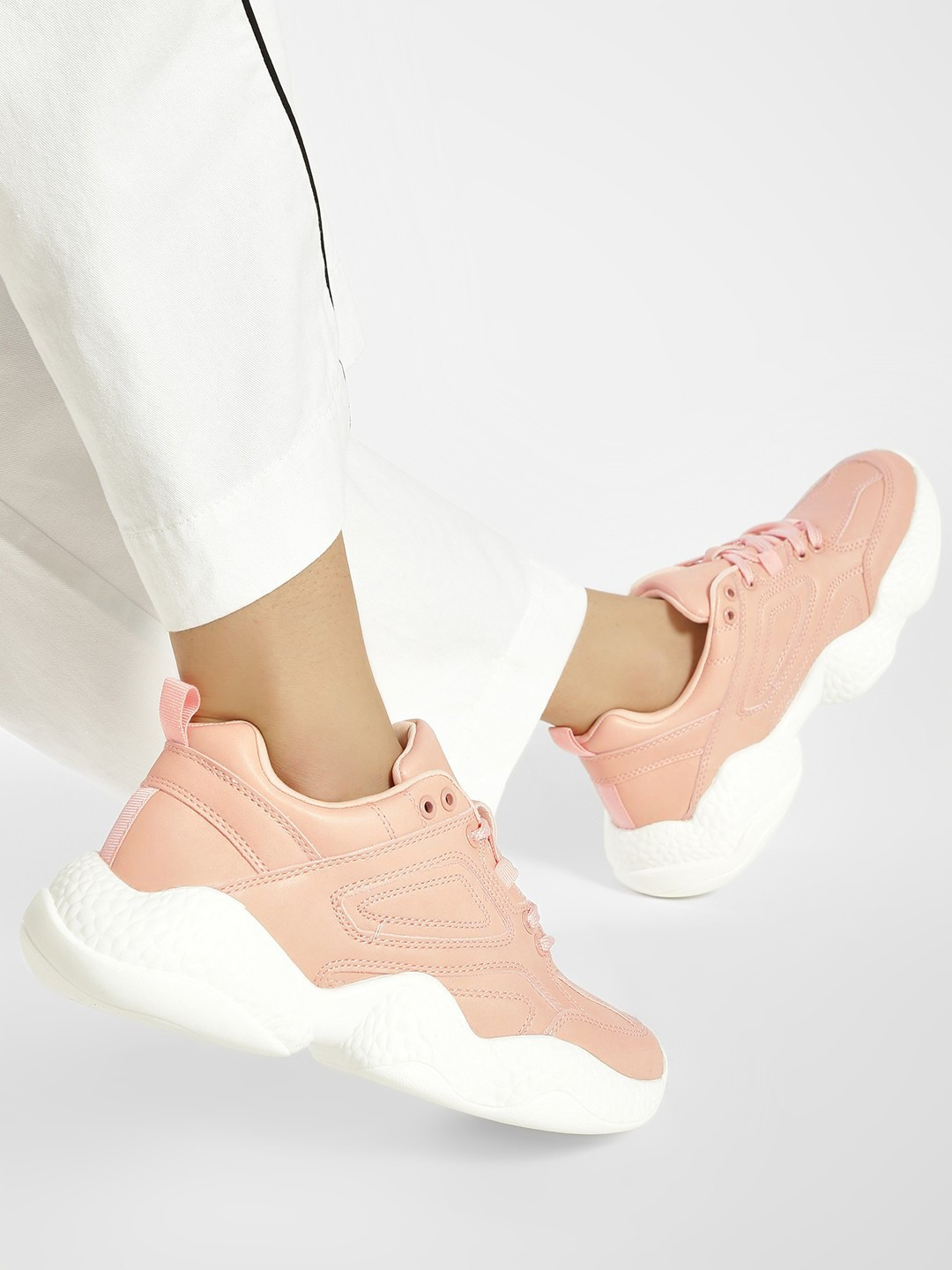My Foot Couture Pink Chunky Sole Trainers 1