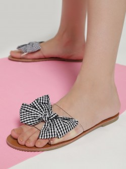 My Foot Couture Gingham Check Bow Clear Slides
