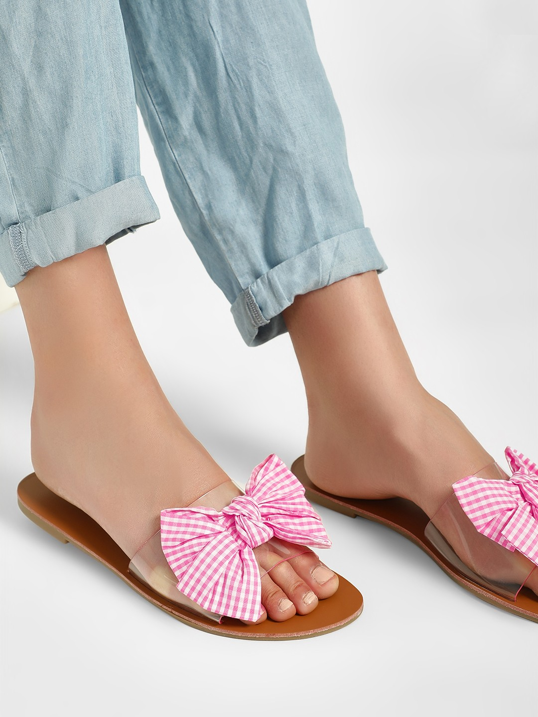 My Foot Couture Pink Gingham Check Bow Clear Slides 1