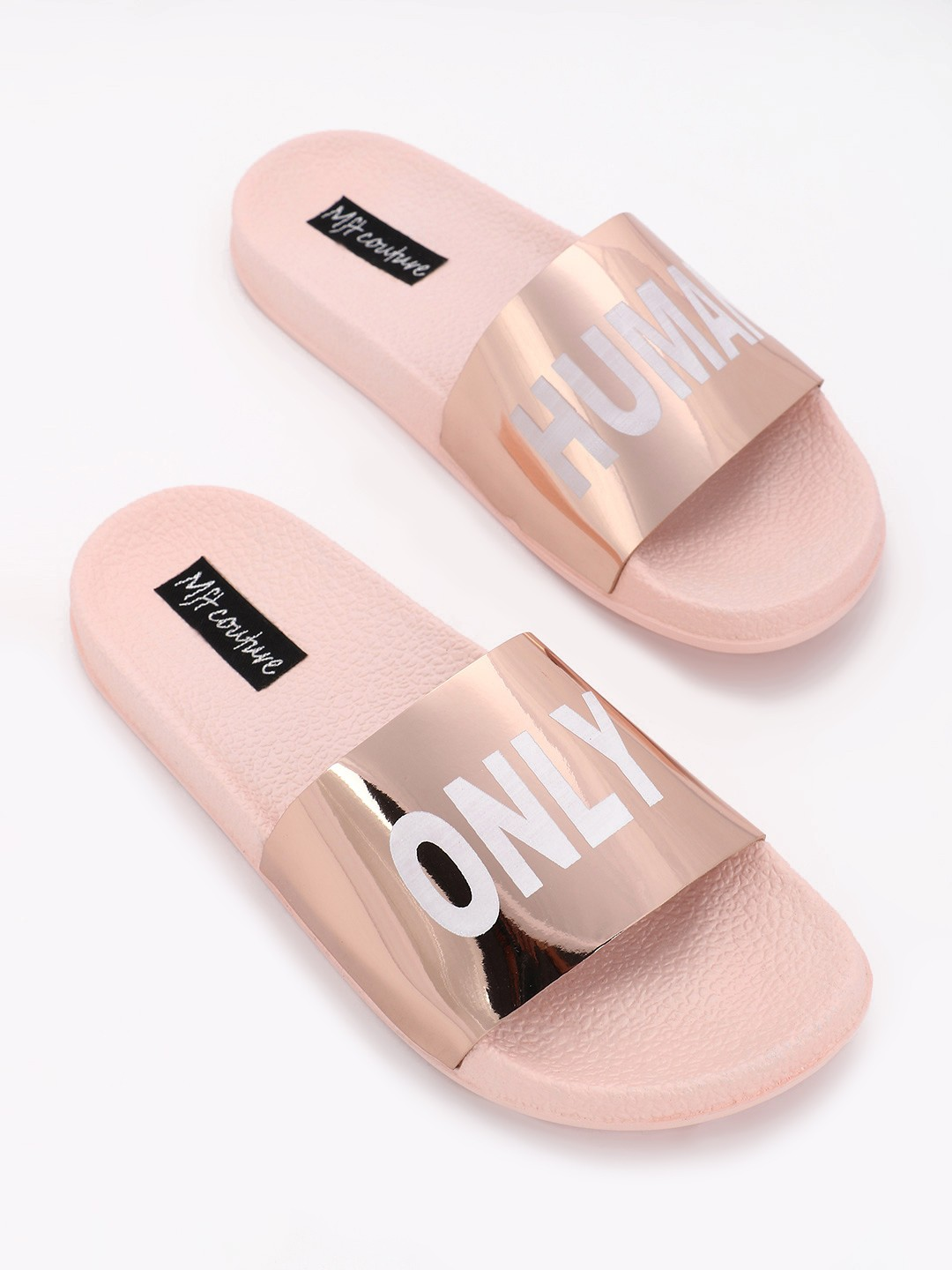 My Foot Couture ROSEGOLD Text Print Holographic Strap Slides 1