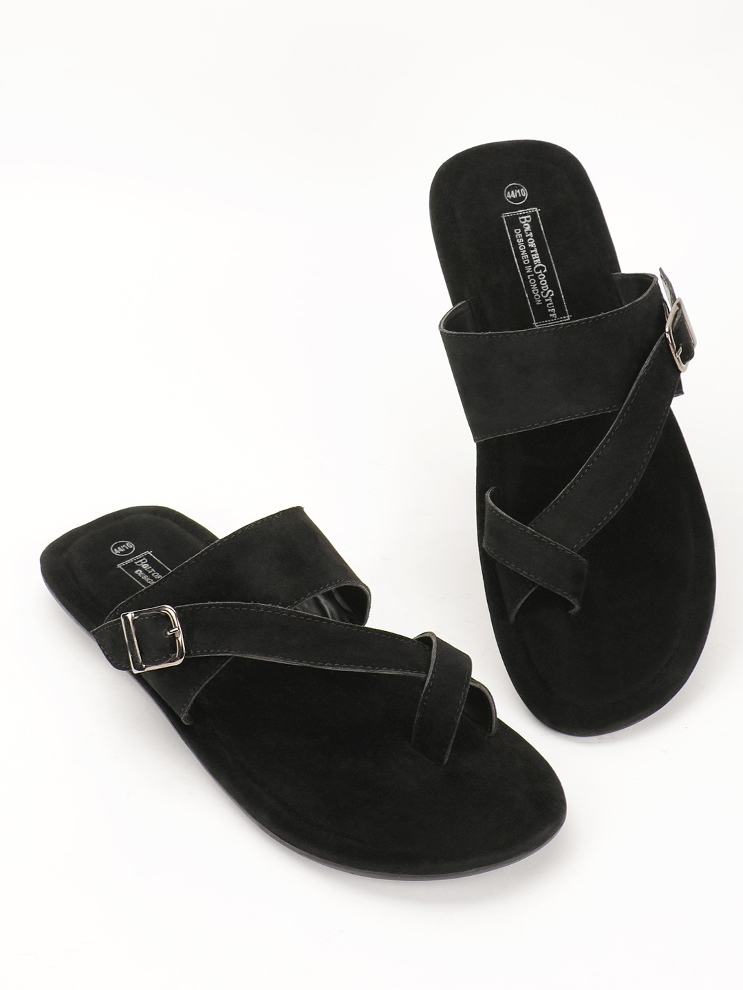Bolt Of The Good Stuff Black Suede Crossover Strap Sandals 1