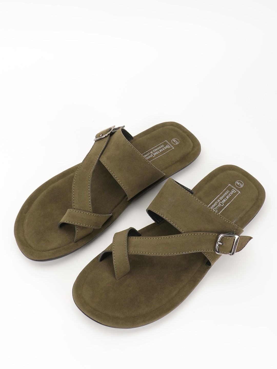 Bolt Of The Good Stuff Green Suede Crossover Strap Sandals 1