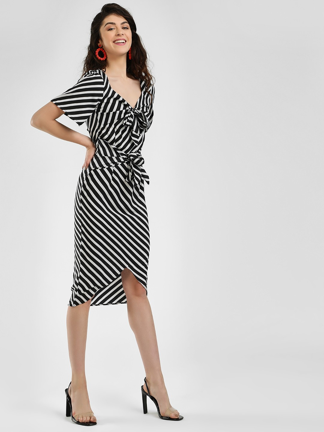 Closet Drama Print Double Knot Stripe Asymmetric Dress 1