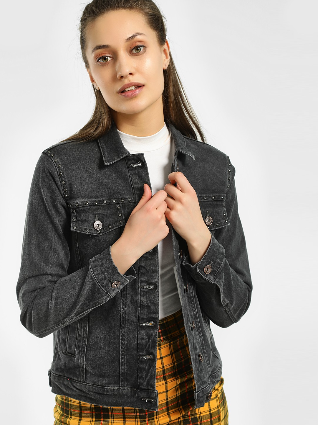 Blue Saint Black Studded Washed Denim Jacket 1