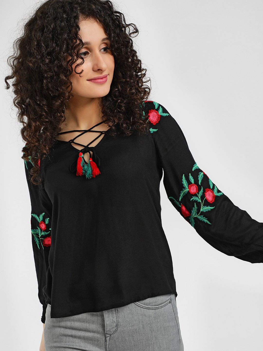 Rena Love Black Floral Embroidered Cross Tie-Up Blouse 1