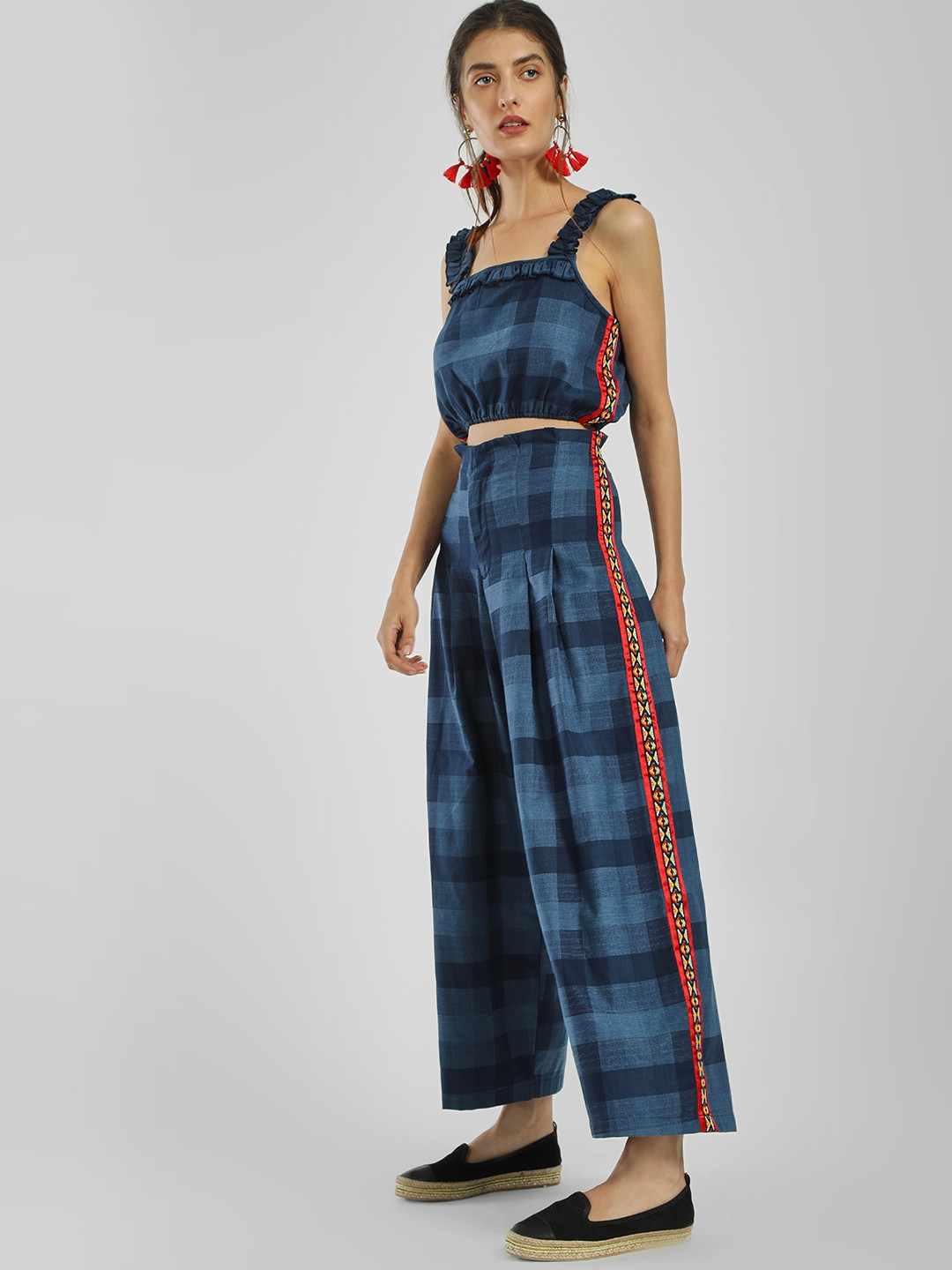 Rena Love Blue Embroidered Side Tape Check Trousers 1