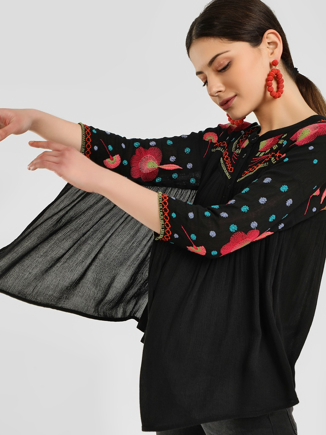 Rena Love Black Floral Embroidered Batwing Sleeve Blouse 1