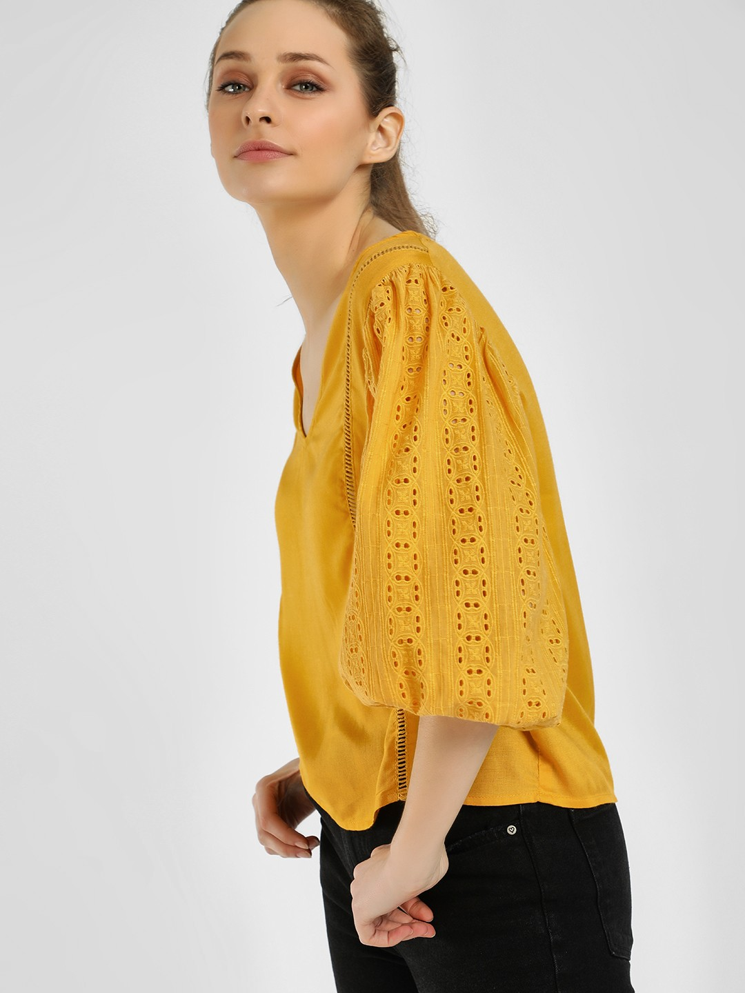 Rena Love Yellow Broderie Sleeve Detail Blouse 1