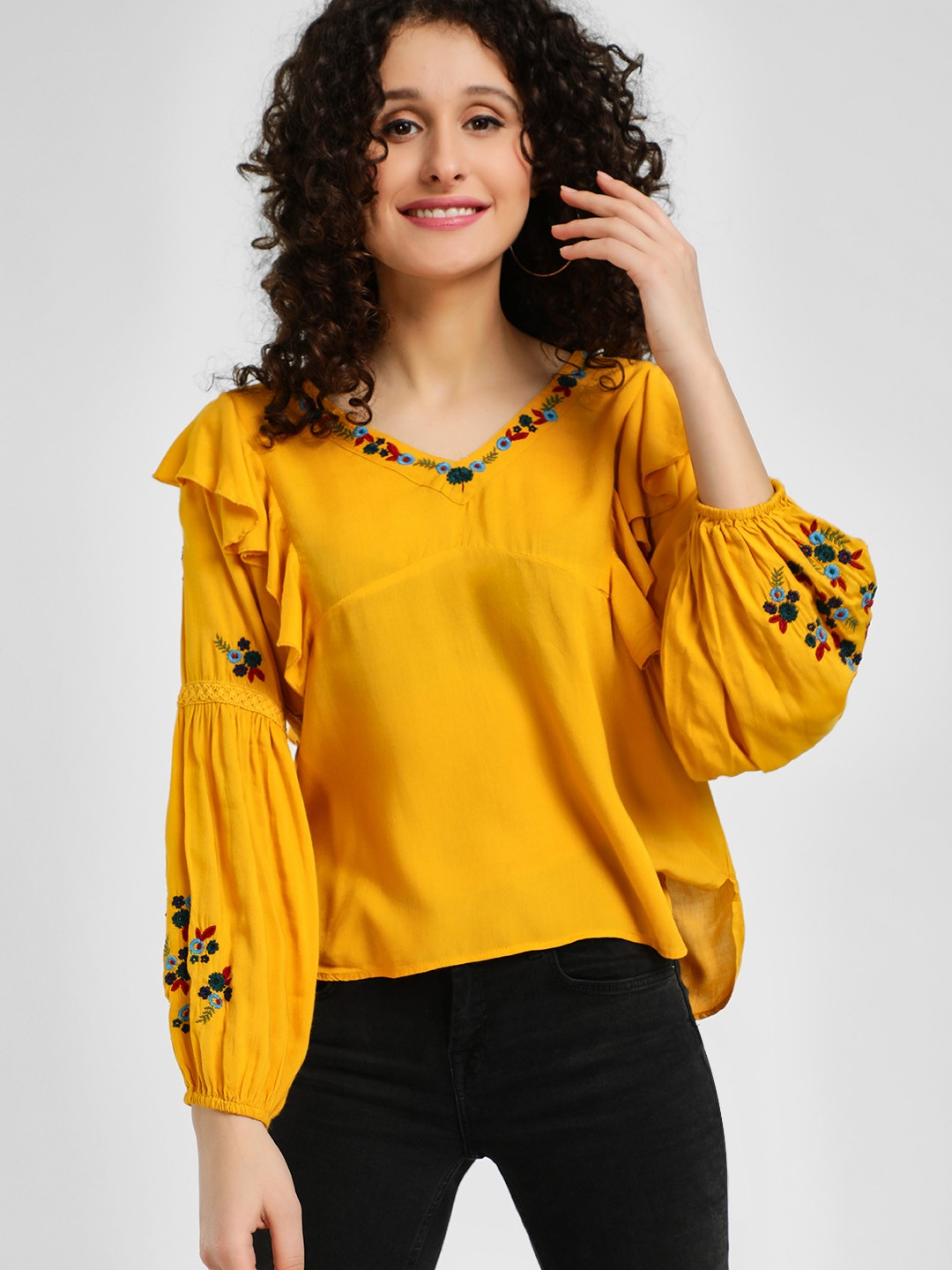 Rena Love Yellow Floral Embroidered Ruffled Blouse 1