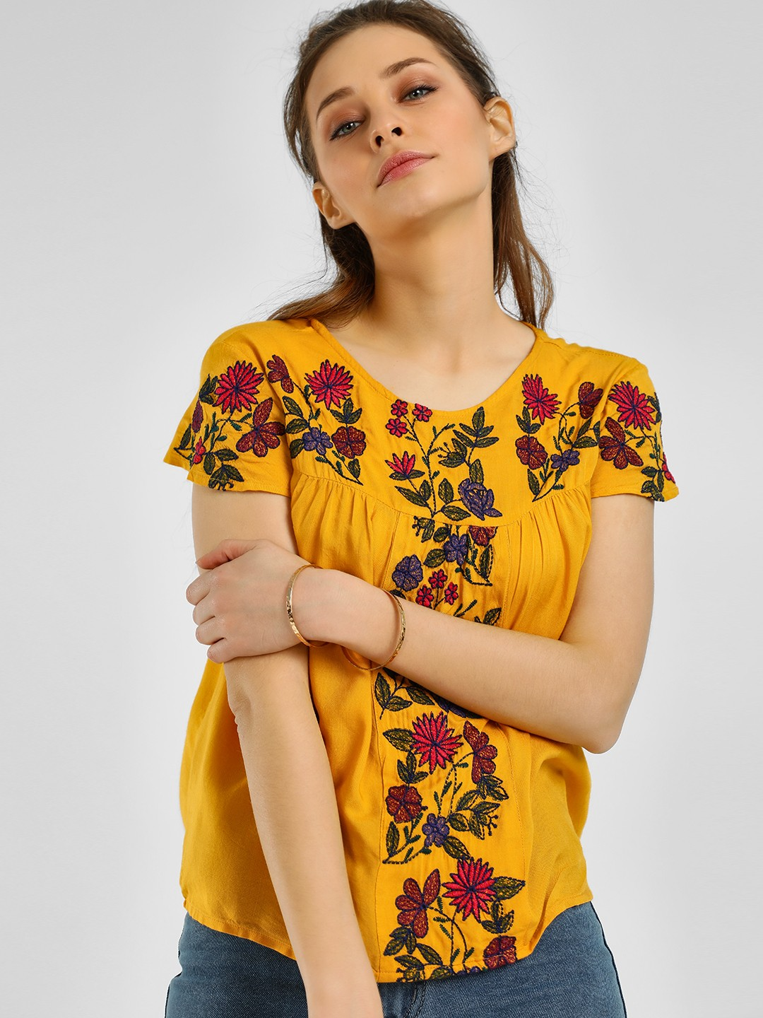 Rena Love Yellow Floral Embroidered Blouse 1