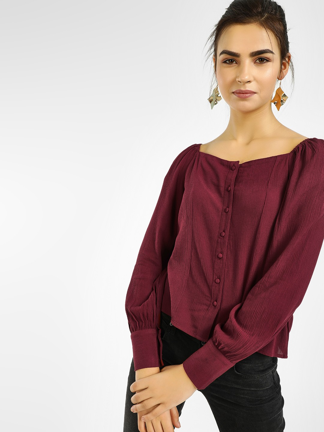 Only Maroon Button-Front Cuffed Sleeve Blouse 1