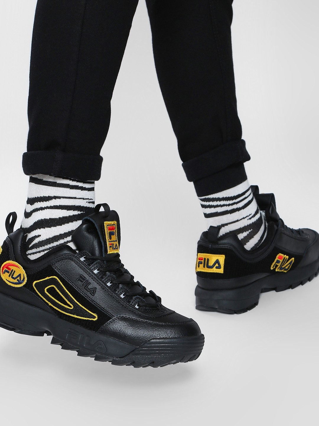 Buy Fila Black HERITAGE Disruptor II Patches Trainers for ...