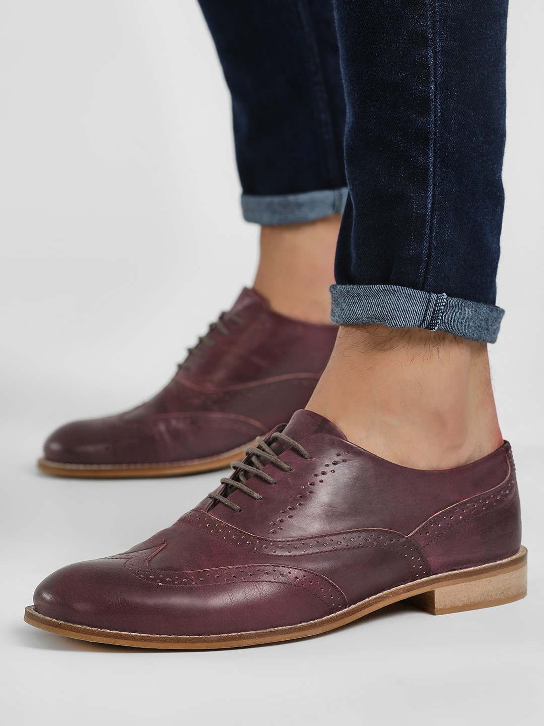 Marcello & Ferri Red Leather Brogue Derby Oxford Shoes 1
