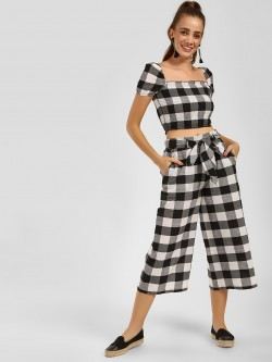 KOOVS Gingham Check Cropped Palazzo Pants