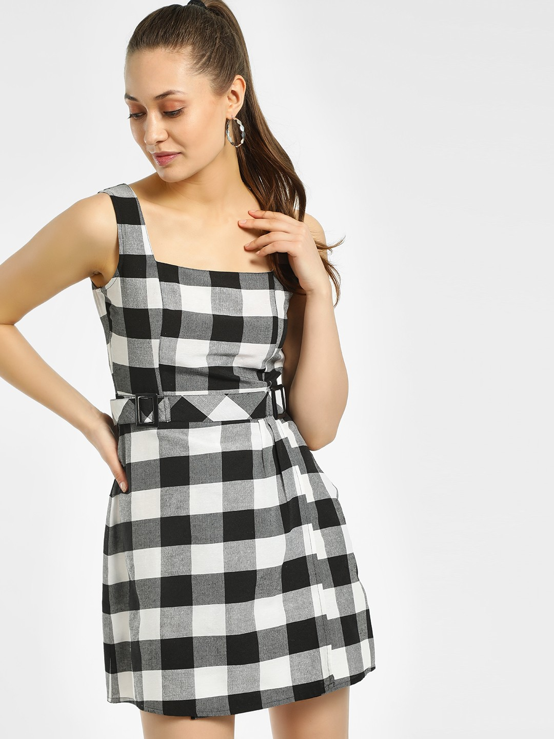 KOOVS Multi Gingham Check Pinafore Dress 1