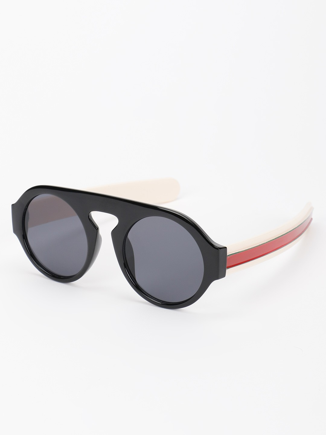Pataaka Black Textured Frame Round Sunglasses 1