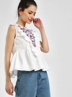 Sbuys Ruffle Floral Embroidered Sleeveless Blouse