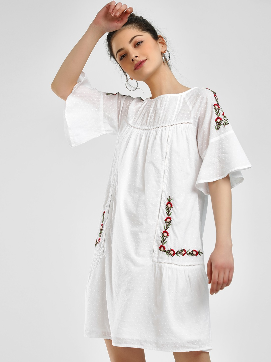 Sbuys White Dobby Floral Embroidered Shift Dress 1