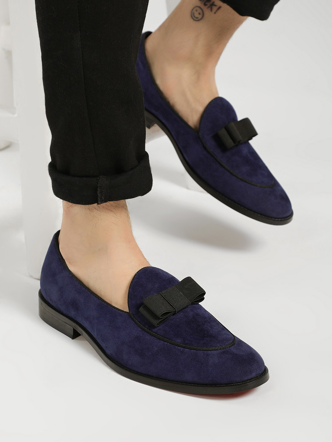 Griffin Blue Suede Bow Detail Loafers 1