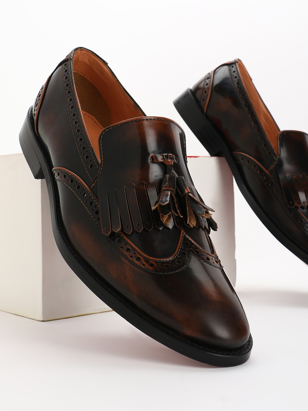Griffin Brown Two-Tone Brogue Tassel Loafers 1