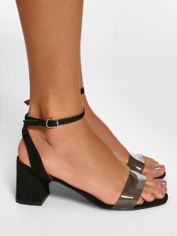KOOVS Clear Strap Block Heeled Sandals