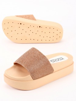 KOOVS Metallic Diamante Embellished Flatform Sandals