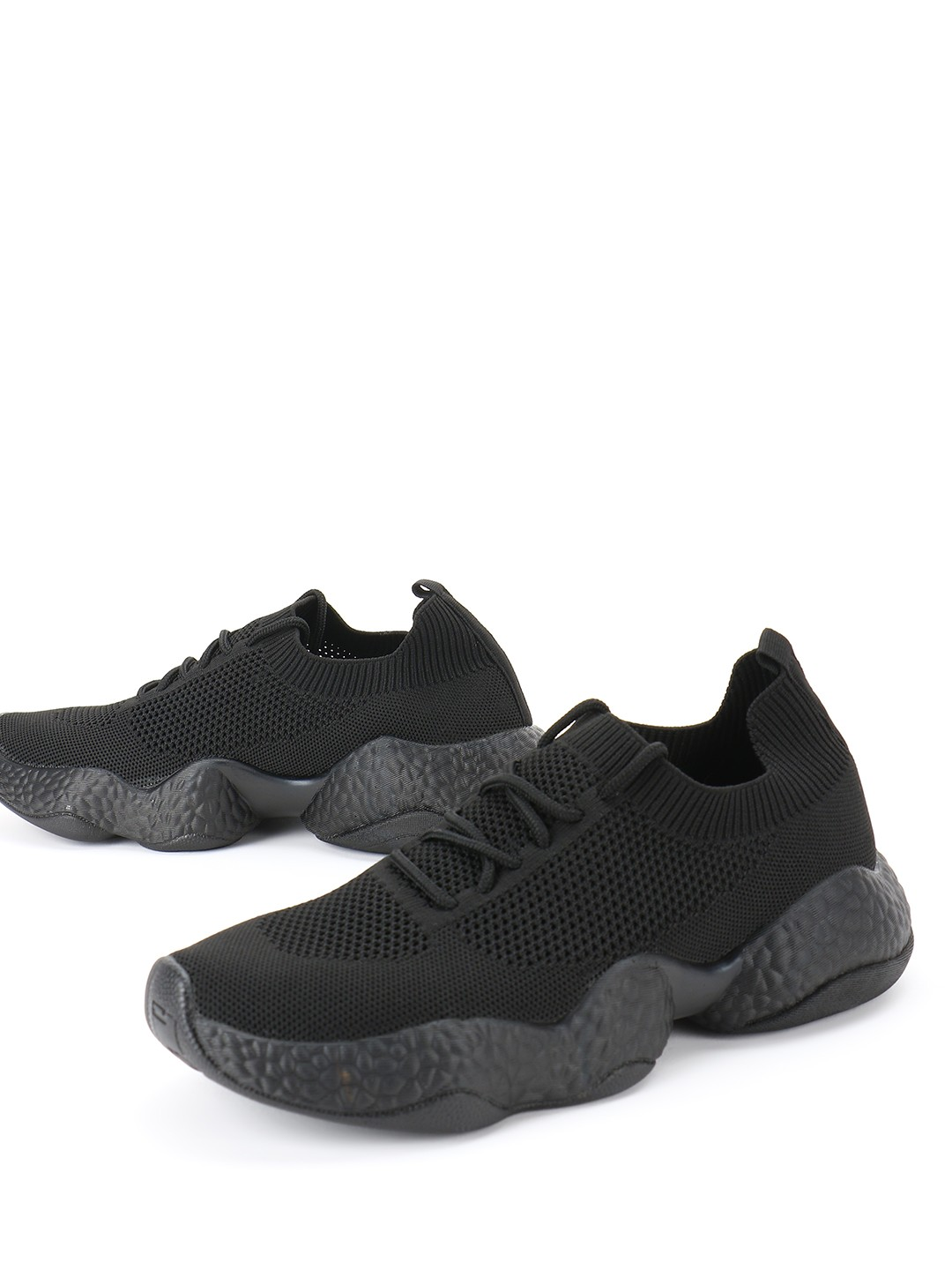KOOVS Black Lace Up Flynet Trainers 1