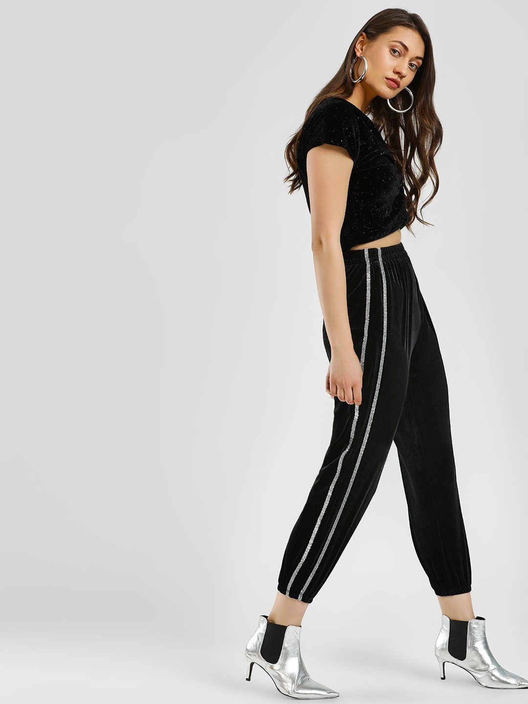 KOOVS Black Metallic Side Tape Joggers 1