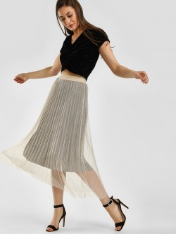 KOOVS Shimmer Mesh Pleated Midi Skirt