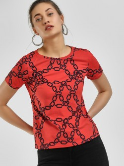 KOOVS Chain Print Short Sleeve T-Shirt