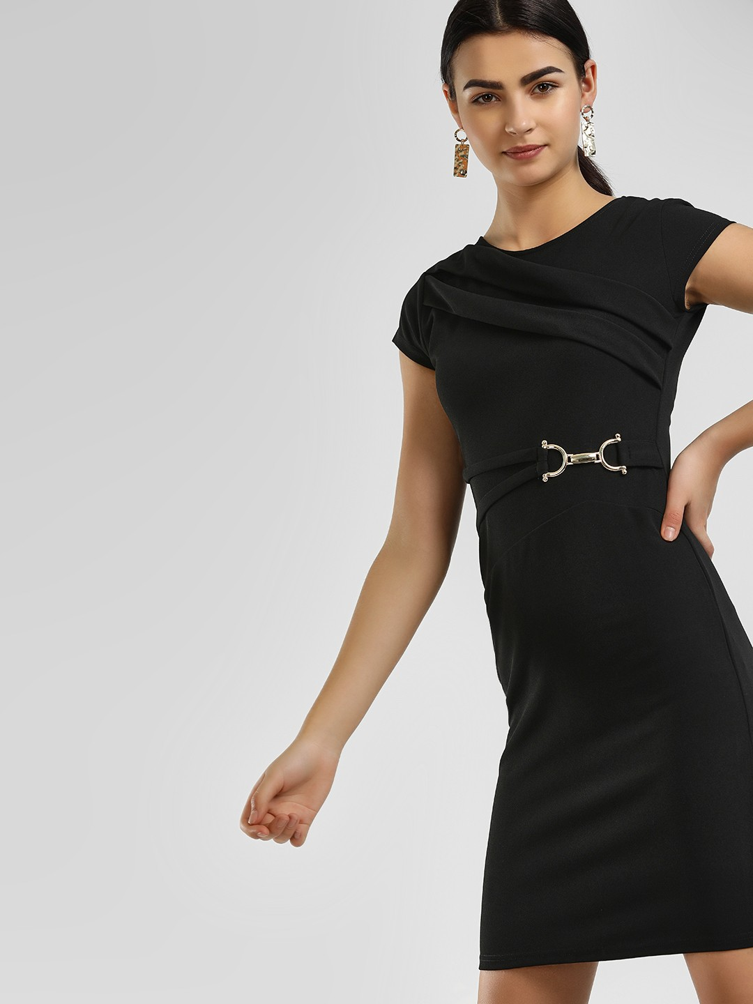 KOOVS Black Hardware Belt Bodycon Dress 1