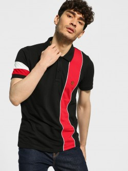 Blotch Contrast Vertical Panel Polo Shirt