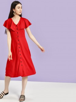 Femella Overlay Cape Button Detail Midi Dress