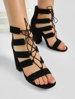 New Look Ghillie Lace-Up Block Heeled Sandals