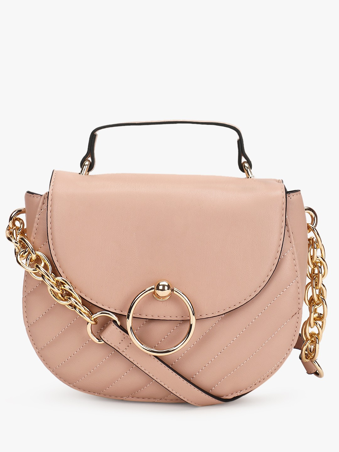 New Look OATMEAL Quilted Mini Saddle Bag 1