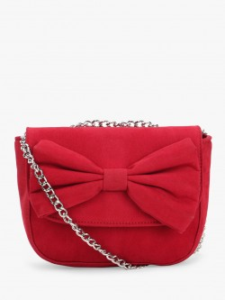 Paris Belle Suede Finish Bow Detail Sling Bag