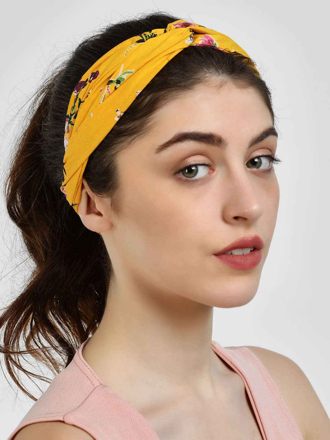 Blueberry Yellow Floral Print Headband 1