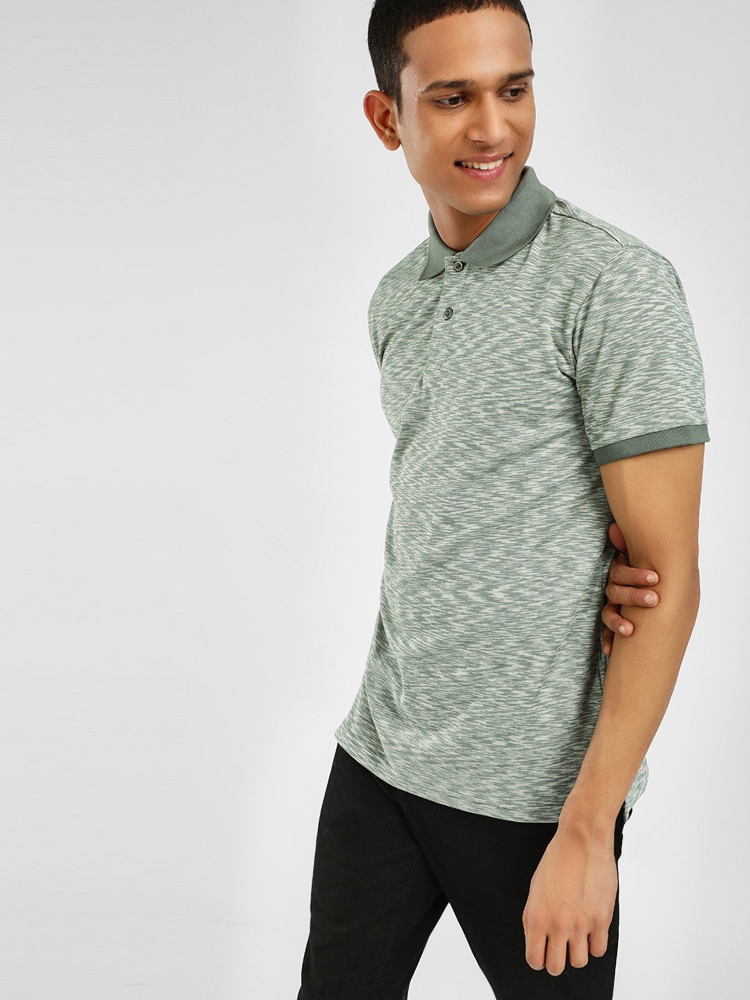 PostFold Green Melange Polo Shirt 1