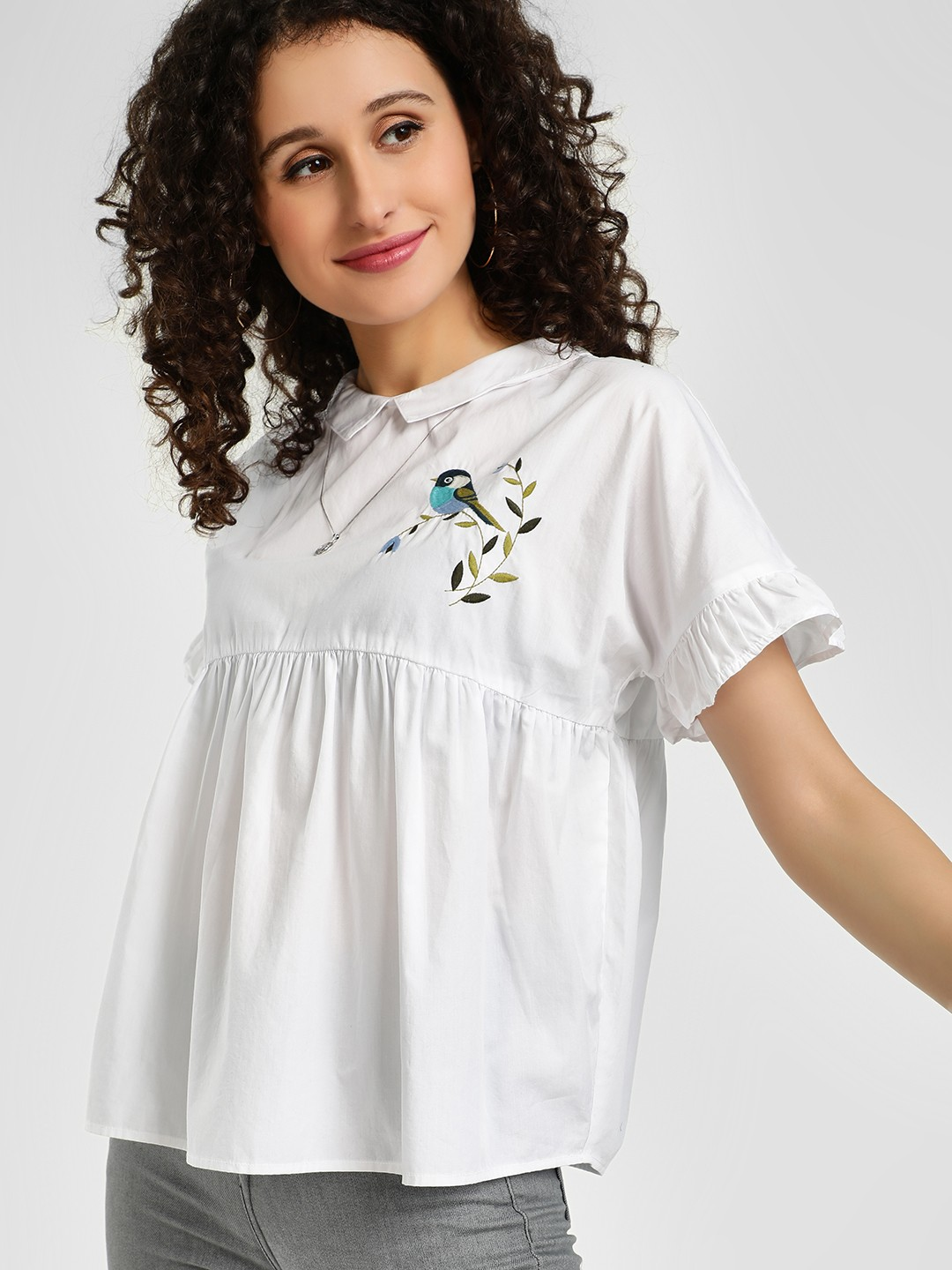 Evah London White Bird Embroidered Top 1