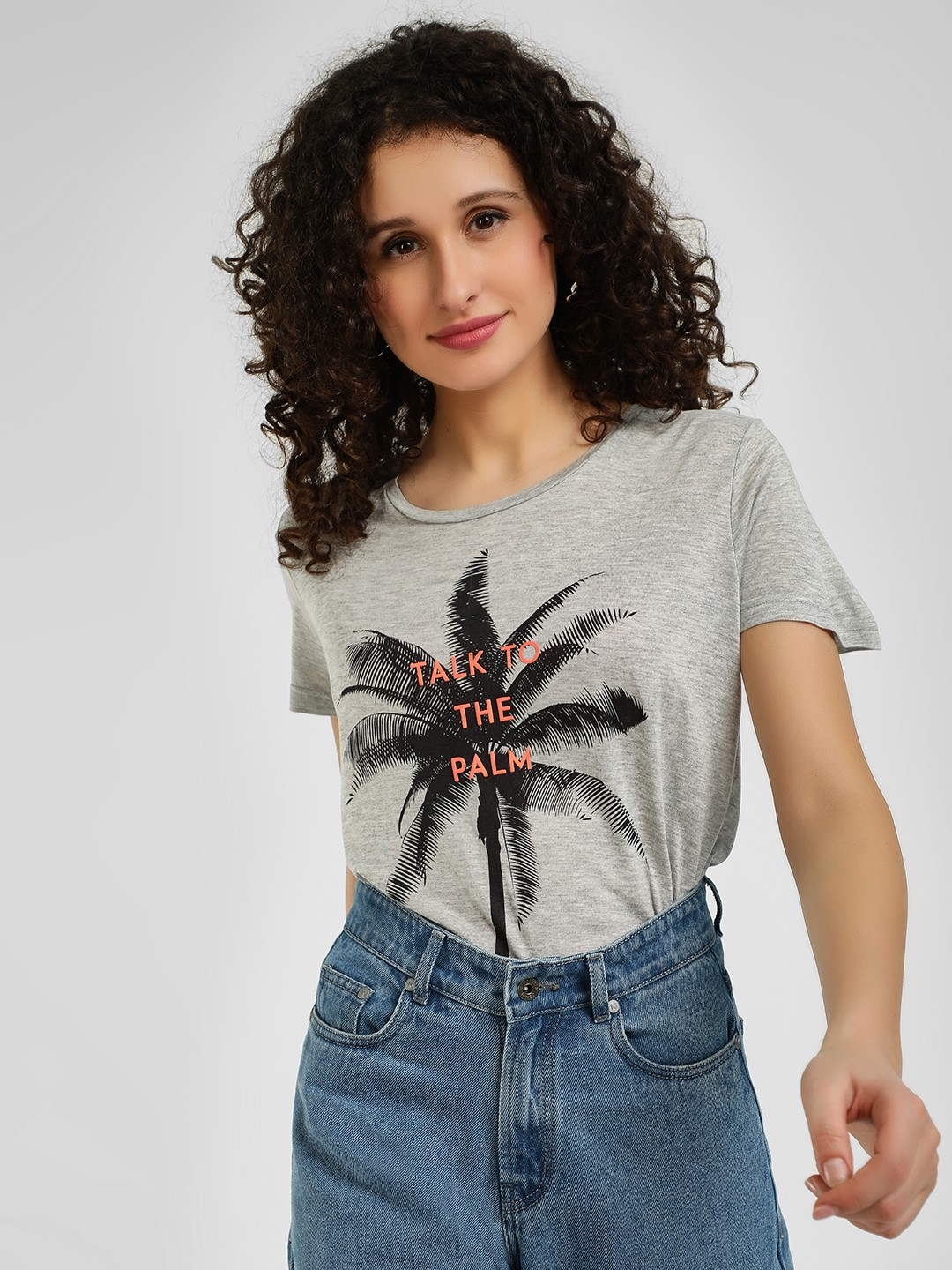 Evah London Grey Marl Palm Slogan Embossed T-Shirt 1