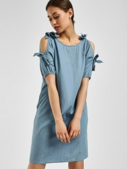Evah London Cold Shoulder Denim Dress