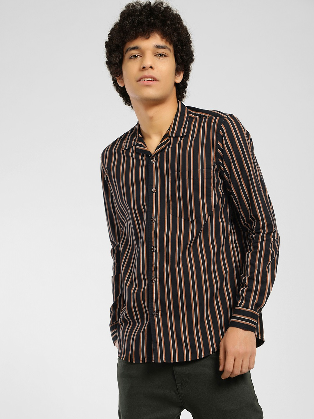 AMON Multi Vertical Stripe Cuban Collar Shirt 1